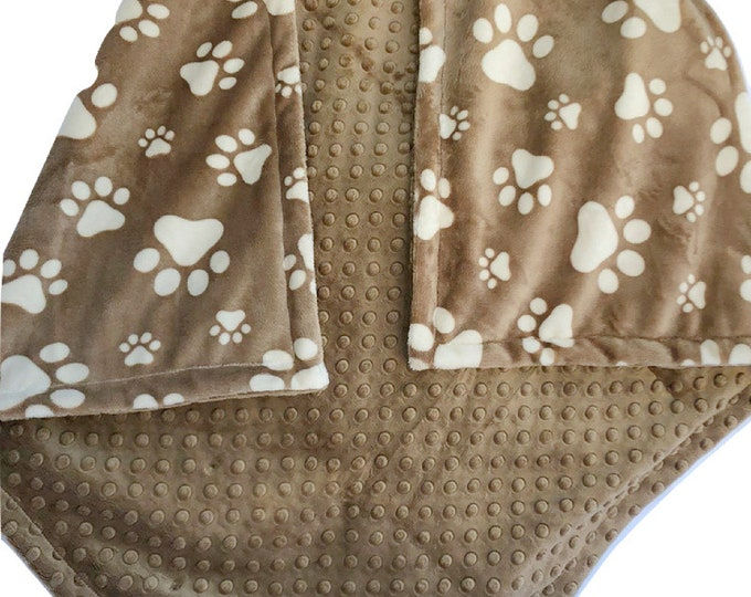 Minky Pet Blanket in Brown and Cream Biscuit