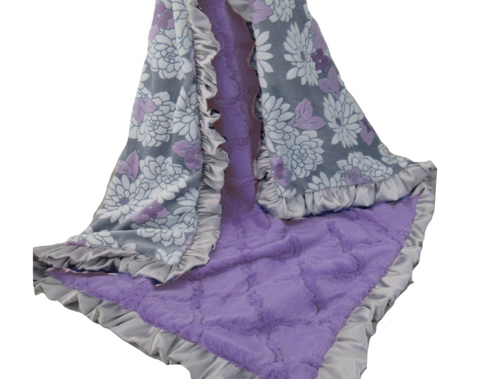 Purple Floral Minky Plush Lattice Baby Blanket with a Silver Gray Satin Ruffle, Purple Flower Baby Blanket
