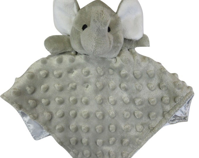 Silver Gray Elephant Security Blanket Embroidery Blank