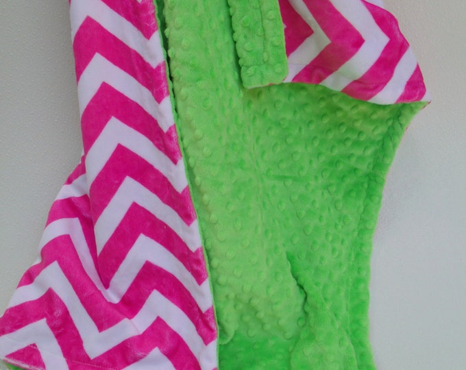 Hot Pink Chevron with Lime Green Minky Blanket for baby, toddler or adult