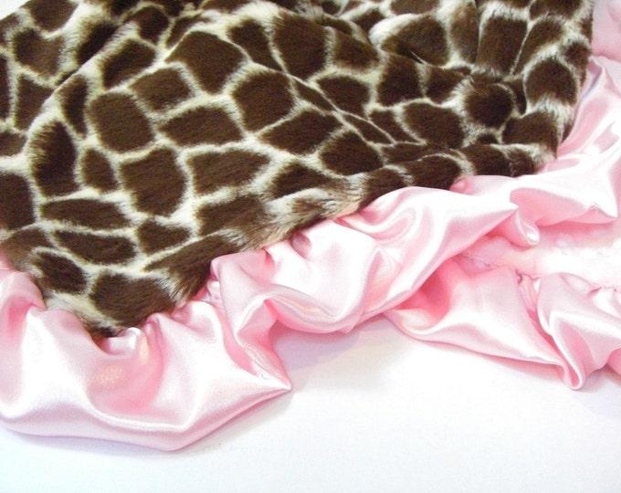 Pink Giraffe Minky Baby Blanket for a Baby Girl, Baby Girl Blanket