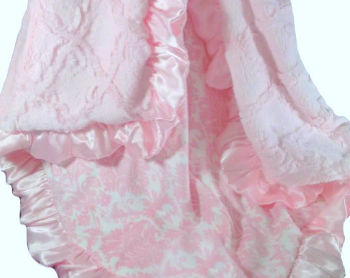 Pink Damask and Sculpted Lattice Minky Blanket for a Baby Girl, three sizes, Baby Girl Blanket