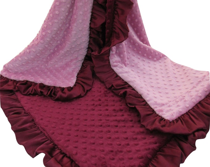 Rose Quartz and Burgundy Minky Baby Blanket, Merlot Dusty Rose Swaddle Blanket, In Stock Ready to Ship