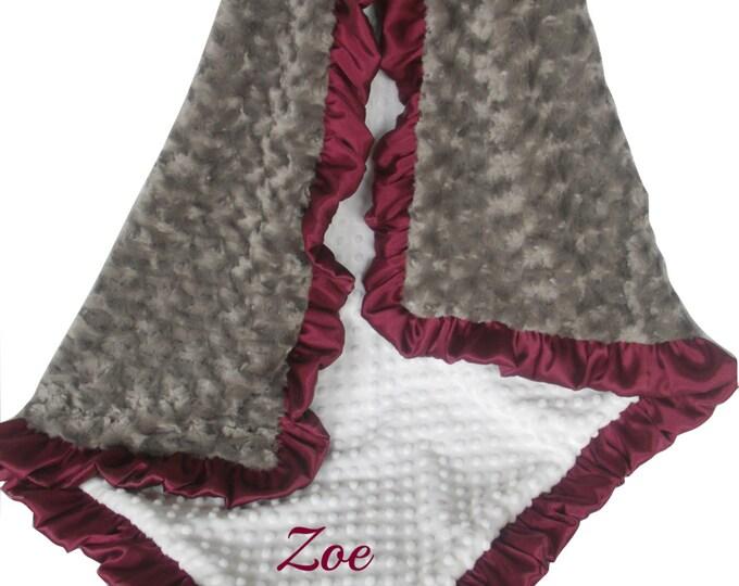 Burgundy Ruffle with Cream Dot Charcoal Gray Rose Swirl Minky Blanket,  3 sizes
