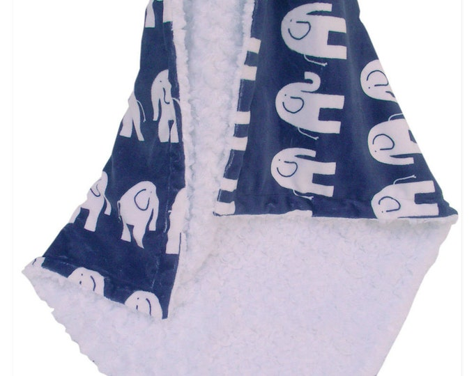 Navy Elephant Minky Baby Blanket, Woodland Animals Jungle Baby Blanket, Elephant Print Blanket