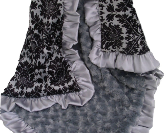 Black and Gray Damask Minky Baby Blanket