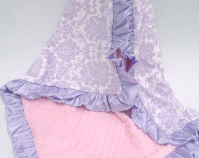 Lavender Damask and Pink Minky Dot Baby Blanket