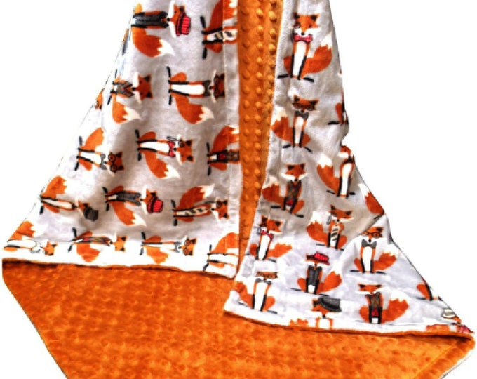 Baby Foxes Burnt Orange and Gray Minky Baby Blanket