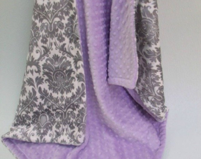 Minky baby Blanket Lavender and Gray Damask, Light Purple and Gray Damask Blanket, Baby Girl Blanket