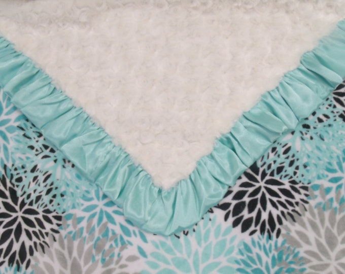 Breeze Teal and Cream Rosebud Swirl Floral Minky Baby Blanket,
