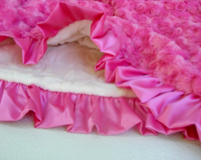 Fuchsia Hot Pink and Ivory Vine Minky Blanket for Girl