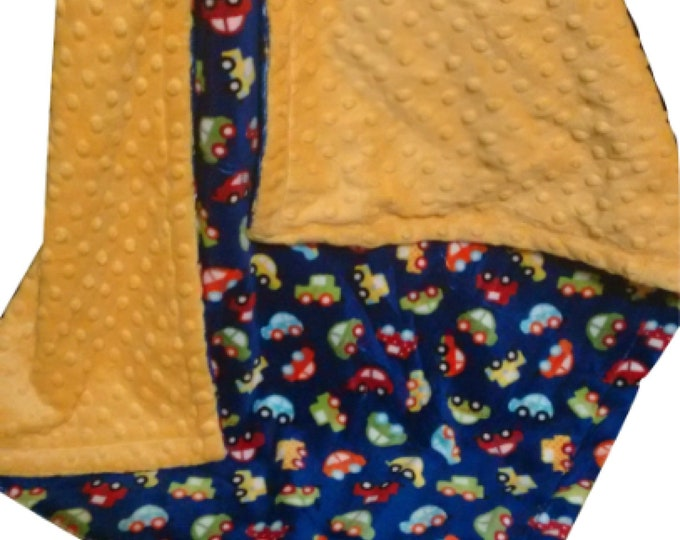 Yellow and Navy Cars Minky Baby Blanket, Saffron Yellow Minky, Navy Minky Dot Swaddle Blanket