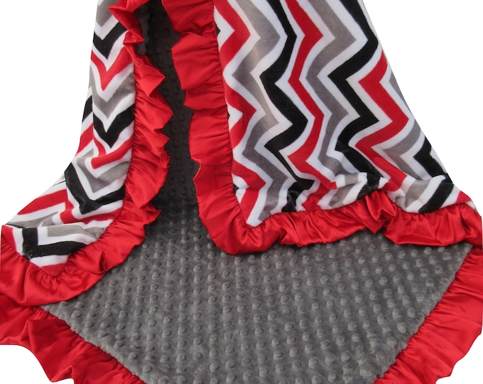 Red, Gray and White Minky Chevron Baby Blanket, Charcoal and Red Minky Dot Red Ruffled Satin Trim, In Stock Ready to Ship
