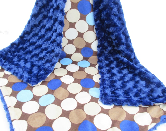 New Navy Blue and Brown Retro Big Dot Minky Blanket - for baby or adult