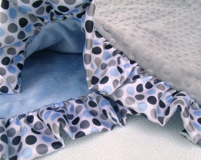 Blue and Gray Minky Baby Blanket with Gray Multi Polka Dot Ruffle - Silver gray Dot