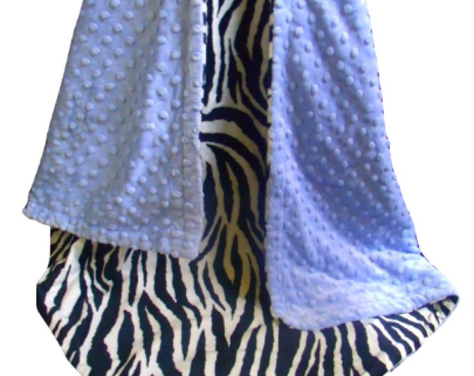 Blue Zebra Minky Baby Blanket - Black and White Zebra Print Baby Blanket, Blue Minky Dot - three sizes,