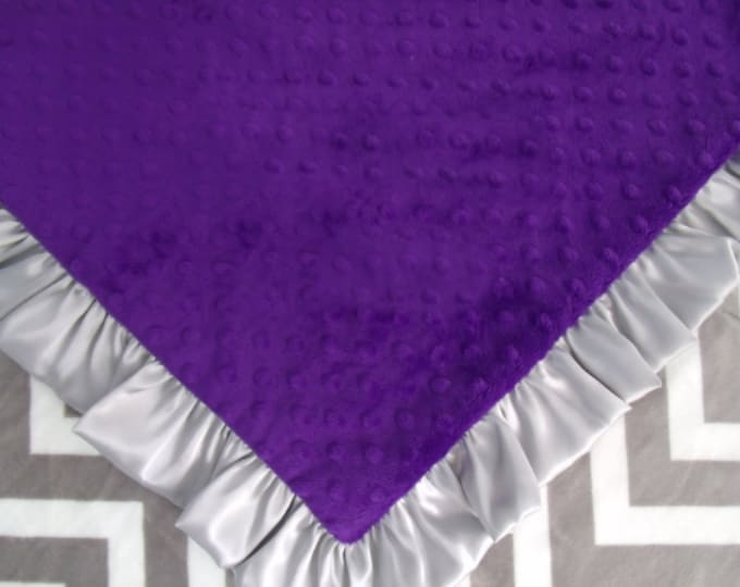 Grey Chevron and Purple  Minky baby Blanket