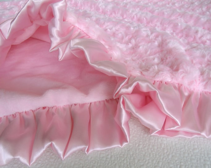 Smooth Pink Minky and Rose Swirl Baby Blanket, Baby Girl Blanket