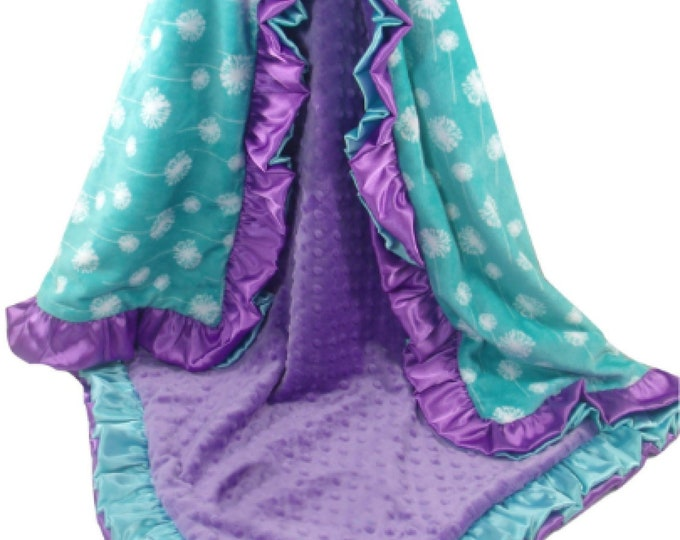 Purple and Teal Dendelion Print Minky Baby Blanket, Double Ruffle, Custom Double Ruffle Blanket, choose your colors, three sizes