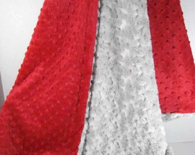 Red Dot and Gray Rose Swirl Minky Baby Blanket
