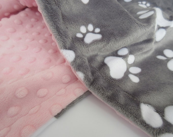 Pink and Gray Paw Print Dog Blanket, New Puppy Gift, In Stock Ready to Ship
