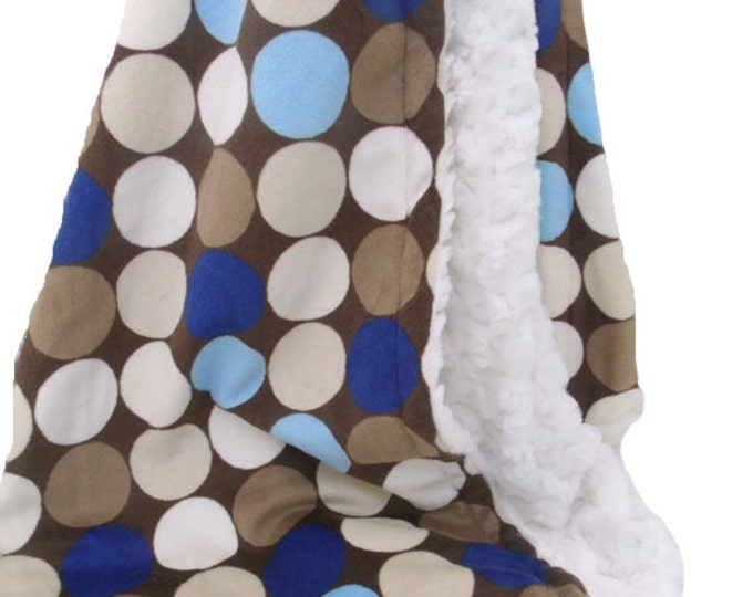 Brown and blue retro big dot minky blanket - for baby or adult