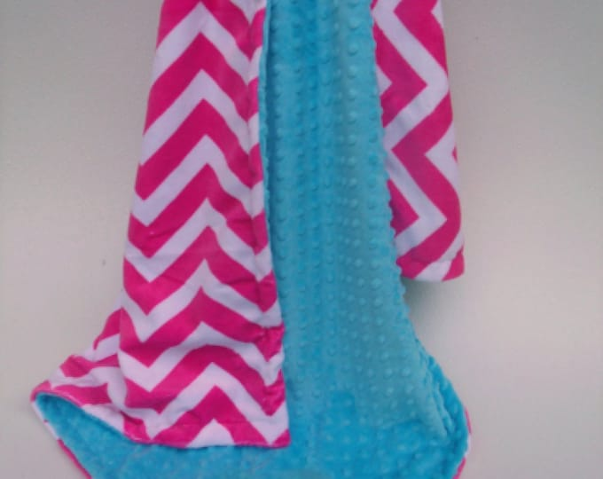 Hot Pink Chevron and Aqua Turquoise  Minky Baby Blanket for Girl