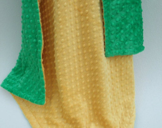 Kelly Green and Saffron Yellow Dot Minky baby Blanket, three sizes