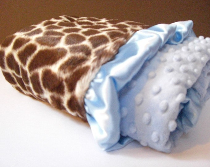 Brown Giraffe and Blue Dot Minky Baby Blanket with personalization option