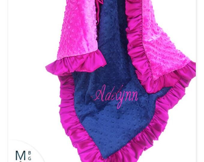 Fuchsia Pink and Navy Minky Dot Baby Girl Blanket