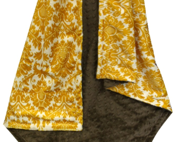 Brown and Gold Damask  Minky Baby Blanket,, Baby Girl Blanket