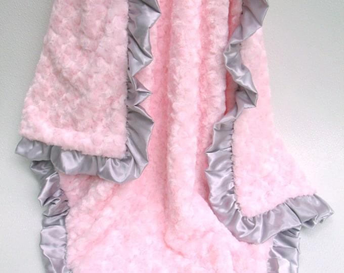 Minky Baby Blanket, Personalized Blanket, Rose Swirl Blanket, Embroidered Blanket, Pink Swaddle Blanket, Pink Gray Blanket