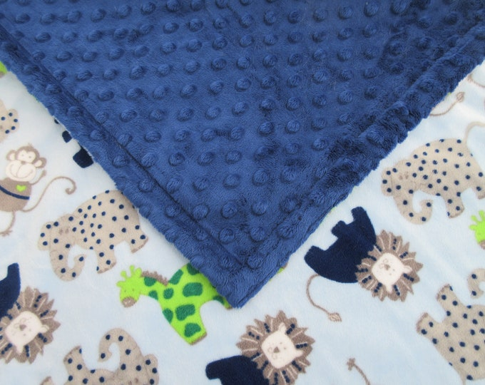 Boy's Navy Blue and Gray Jungle Minky Baby Blanket