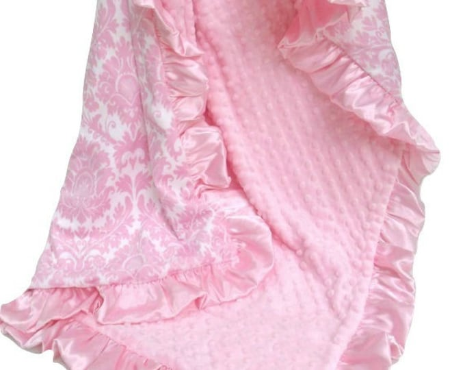 Pink Damask Minky Blanket for a Baby Girl
