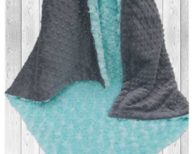 Robin's Egg Blue and Gray Minky Baby Blanket, Charcoal Gray and Saltwater Minky baby Blanket,