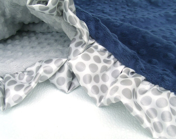 Navy Blue and Gray Minky Baby Blanket with Gray Polka Dot Ruffle