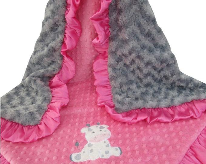 Applique Hot Pink and Gray Rosebud Swirl Minky 32 x 38 inch Baby Girl Blanket