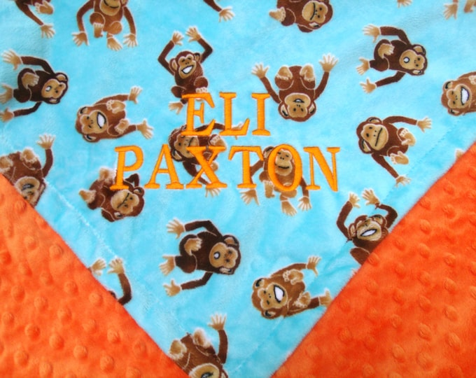Monkey Print Turquoise and Orange Minky Blanket for Baby and Toddler Boys