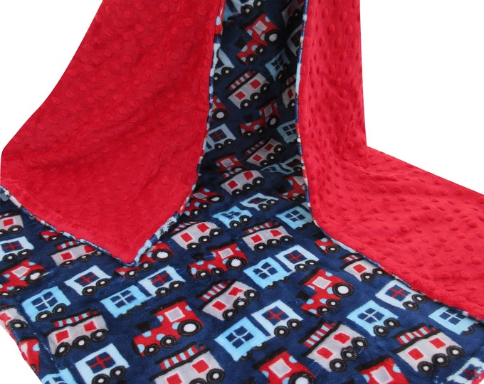Red and Navy Choo Choo Train Minky Baby Blanket, In Stock Ready to Ship