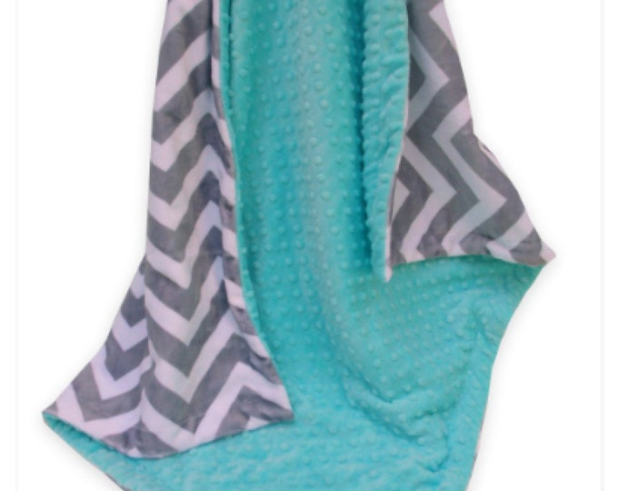 Gray Chevron and Robin's Egg Blue Minky Baby Blanket, Pool Green Minky Baby Blanket