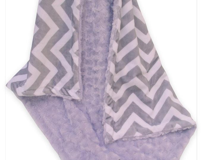 Lavender Minky Swirl and Gray Chevron Minky Baby Blanket, Lavender and Gray Baby Blanket
