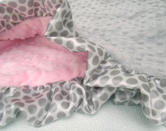 Gray Polka Dot Ruffle Pink and Gray Minky Baby Blanket