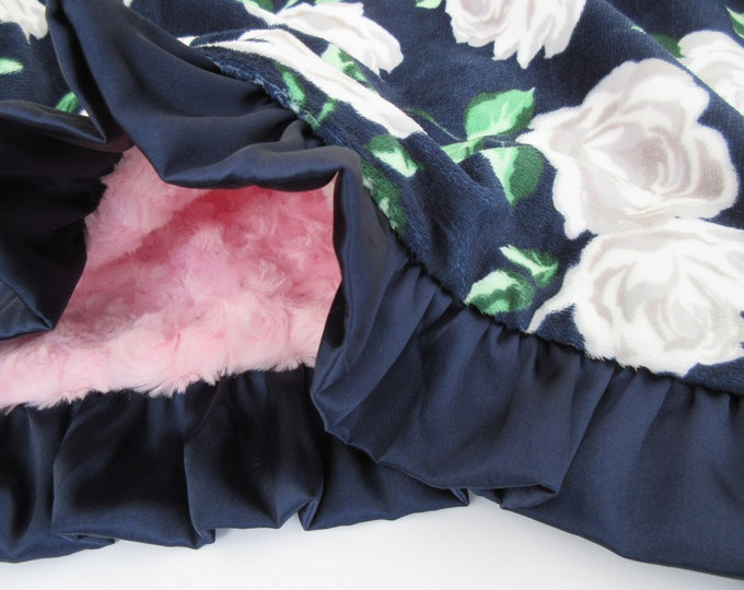 Navy and Light Pink Rose Floral Minky Baby Blanket With a Navy Ruffle, In Stock Ready to Ship