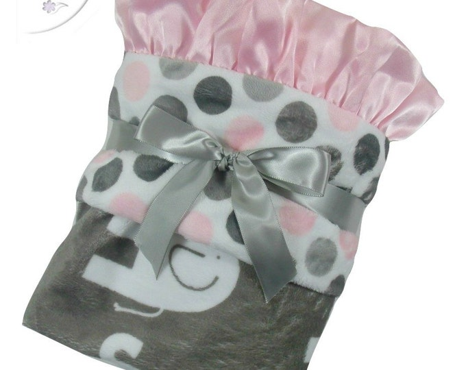 Pink and Gray Polka Dot Elephant Minky Baby Blanket, Pink and Gray Mod Dot Minky baby Blanket, Baby Girl Blanket