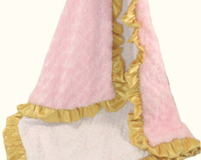 Minky Baby Blanket,  Pink Gold Blanket, Pink Gold Quilt, Pink Gold Throw, Gold Pink Quilt,
