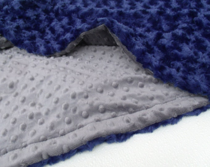 Navy Rosebud Swirl and Charcoal Dot Blanket
