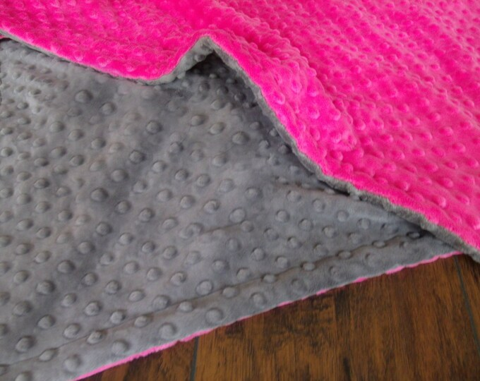 Fuchsia Hot Pink Minky Dot and Charcoal Gray Minky Baby Blanket