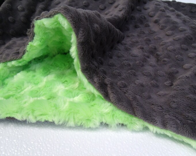Green and Slate Gray Minky Baby Blanket - Kiwi Rose Swirl