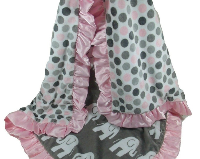 Pink Gray Elephant Blanket Minky Fabric with Satin Ruffle