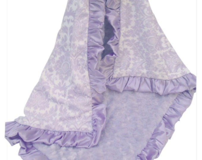 Light Purple Lavender Damask Minky Baby Blanket for Baby Girls, Minky Baby Blanket